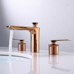 Bathroom Sink Faucet - Widespread Rose Gold Centerset Two Handles Three Holes Bath Faucet