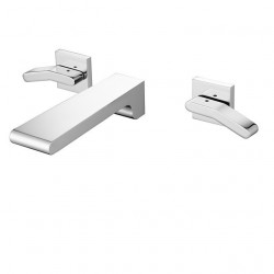 Bathroom Sink Faucet - Wall Mount,Waterfall Chrome Wall Mounted Two Handles Three Holes Bath Faucet