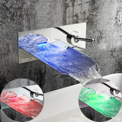 Contemporary Wall Mounted Waterfall LED Ceramic Valve Two Holes Single Handle Two Holes Chrome,Bathroom Sink Faucet