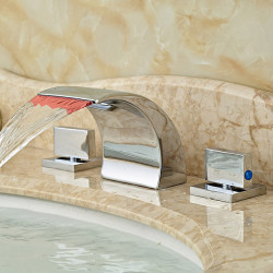 Bathroom Sink Faucet - LED,Widespread,Waterfall Chrome Deck Mounted Two Handles Three Holes Bath Faucet