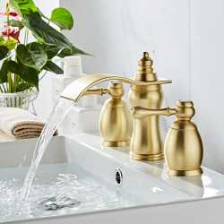 Bathroom Sink Faucet - Waterfall Painted Finishes Widespread Two Handles Three Holes Bath Faucet