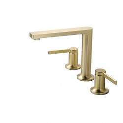 Bathroom Sink Faucet - Widespread Brushed Gold Other Two Handles Three Holes Bath Faucet