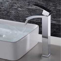 Bathroom Sink Faucet - Waterfall,Widespread,Design Chrome Deck Mounted Single Handle One HoleBath Faucet