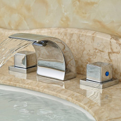 Bathroom Sink Faucet - Widespread,Waterfall Chrome Deck Mounted Two Handles Three Holes Bath Faucet