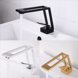 Single HandleBathroomFaucet,Electroplated,Brushed One Hole Hollow Out,Irregular,Centerset,Brass Contemporary Bathroom Sink...
