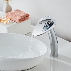 Bathroom Sink Faucet - Waterfall Chrome ,Creative Love Electroplated Centerset Single Handle One HoleBath Faucet