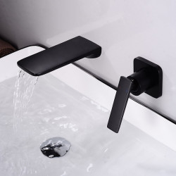 Bathroom Sink Faucet - Wall Mount,Waterfall Electroplated Mount Inside Single Handle One HoleBath Faucet(Contain Shower Faucet...