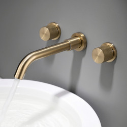 Bathroom Sink Faucet - Luxury Brushed Gold Finish Washroom Faucet Double Handles Wall Mounted Basin Sink Mixer Faucet