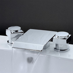Bathroom Sink Faucet - Waterfall,Widespread Chrome Widespread Two Handles Three Holes Bath Faucet
