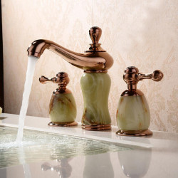 Contemporary Antique Modern Widespread Widespread Ceramic Valve Two Handles Three Holes Rose Gold, Bathroom Sink Faucet