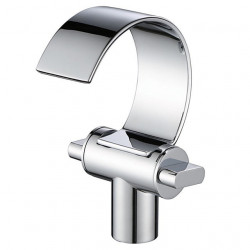 Bathroom Sink Faucet - Waterfall Chrome Centerset Two Handles One HoleBath Faucet