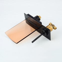 Bathroom Sink Faucet - LED,Wall Mount,Waterfall Oil-rubbed Bronze Wall Mounted Single Handle Two Holes Bath Faucet,Brass