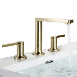 Bathroom Sink Faucet - Widespread Brushed Gold Widespread Two Handles Three Holes Bath Faucet