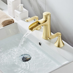 Bathroom Sink Faucet - Waterfall,Widespread Painted Finishes Widespread Two Handles Three Holes Bath Faucet