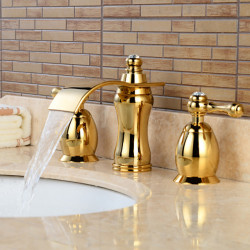 Contemporary Widespread Waterfall Widespread Ceramic Valve Two Handles Three Holes Ti-PVD, Bathroom Sink Faucet