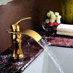 Bathroom Sink Faucet - Widespread Electroplated Free Standing Single Handle One HoleBath Faucet