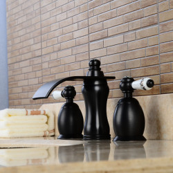 Contemporary Widespread Waterfall Widespread Ceramic Valve Two Handles Three Holes Oil-rubbed Bronze, Bathroom Sink Faucet