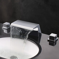 Bathroom Sink Faucet - Waterfall,Widespread Chrome Widespread Two Handles Three Holes Bath Faucet,Brass