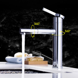 Bathroom Sink Faucet - Pullout Spray,Rotatable Chrome Deck Mounted Single Handle One HoleBath Faucet