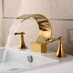 Bathroom Sink Faucet - Waterfall Ti-PVD Widespread Two Handles Three Holes Bath Faucet