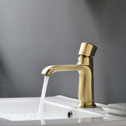 Bathroom Sink Faucet - Widespread Brushed Gold Centerset Single Handle One HoleBath Faucet