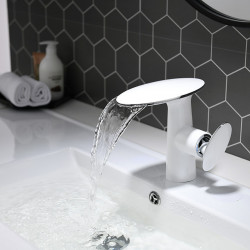 Bathroom Sink Faucet - White and Chrome Basin Faucet Waterfall Painted Finishes Centerset Single Handle One Hole Bath Vanity...