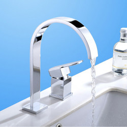 Bathroom Sink Faucet - Waterfall Chrome Widespread Two Holes,Single Handle Two Holes Bath Faucet