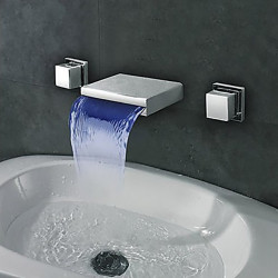 Bathroom Sink Faucet - Waterfall,LED Chrome Wall Mounted Two Handles Three Holes Bath Faucet