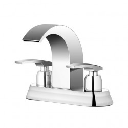Bathroom Sink Centerset Faucet - Waterfall Chrome Widespread Two Handles Two Holes Bath Faucet