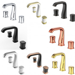 Bathroom Sink Faucet - Widespread Chrome,Oil-rubbed Bronze,Gold Widespread Two Handles Three Holes Bath Faucet