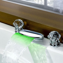 Bathroom Sink Faucet - Waterfall,LED Chrome Widespread Two Handles Three Holes Bath Faucet