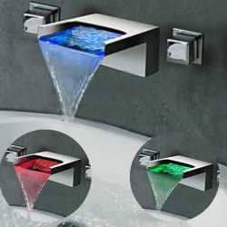 Bathroom Sink Faucet - LED,Wall Mount,Waterfall Chrome Wall Mounted Two Handles Three Holes Bath Faucet