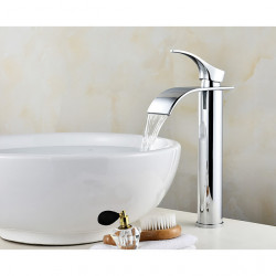Single HandleBathroomFaucet,Chrome OneHole Waterfall,Centerset,Stainless Steel Contemporary Bathroom SinkFaucet Contain...