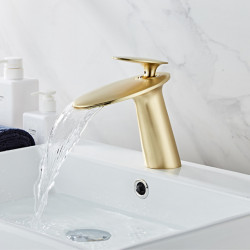 Faucet Set - Waterfall Brushed,Rose Gold Centerset Single Handle One HoleBath Faucet