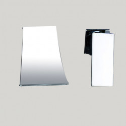 Bathroom Sink Faucet - Wall Mount,Waterfall Chrome Wall Mounted Two Holes,Single Handle Two Holes Bath Faucet