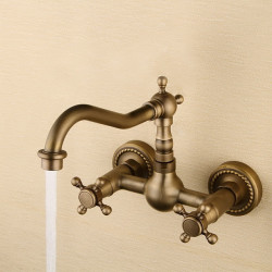 Bathroom Sink Faucet - Rotatable Antique Bronze Wall Mounted Two Holes,Two Handles Two Holes Bath Faucet