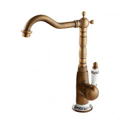 Bathroom Sink Faucet - Rotatable Antique Copper Free Standing Single Handle One HoleBath Faucet,Brass
