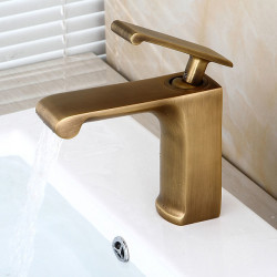 Bathroom Sink Faucet - Pre Rinse,Waterfall,Widespread Antique Copper Centerset Single Handle One HoleBath Faucet