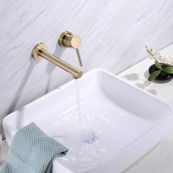 Bathroom Sink Faucet - Brushed Gold Wall Mounted Basin Faucet Single Handle Two Holes Bath Basin Faucet