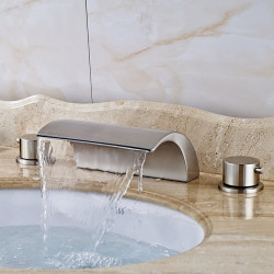 Contemporary Widespread Waterfall Ceramic Valve Two Handles Three Holes Nickel Brushed, Bathroom Sink Faucet
