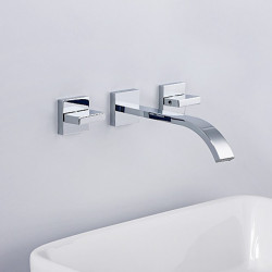 Bathroom Sink Faucet - Waterfall Chrome Wall Mounted Two Handles Three Holes Bath Faucet