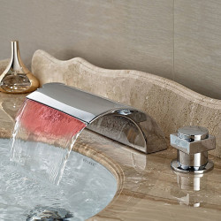 Contemporary Widespread Waterfall LED Ceramic Valve Two Handles Three Holes Chrome, Bathroom Sink Faucet