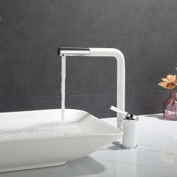 Bathroom Sink Faucet - Rotatable Painted Finishes Centerset Single Handle One HoleBath Faucet