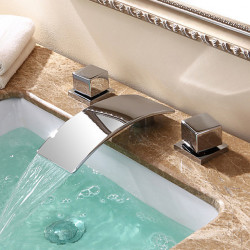 Contemporary Modern Widespread Waterfall Widespread Ceramic Valve Two Handles Three Holes Chrome, Bathroom Sink Faucet