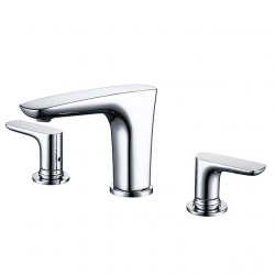 Bathroom Sink Faucet - Chrome Finish Dual Handls Three Holes Basin Sink Mixer Faucet Modern Style Hot and Cold Washroom Faucet
