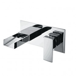 Bathroom Sink Faucet - Wall Mounted Contemporary Basin Mixer Faucet Waterfall Chrome Water Faucet