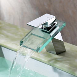 Sink Faucets - Contemporary Chrome Centerset,Waterfall One Hole