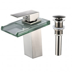 Faucet Set - Waterfall Nickel Brushed Centerset Single Handle One HoleBath Faucet,Brass