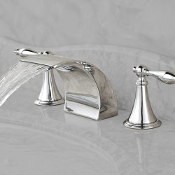 Contemporary Widespread Waterfall Ceramic Valve Two Handles Three Holes Chrome, Bathroom Sink Faucet