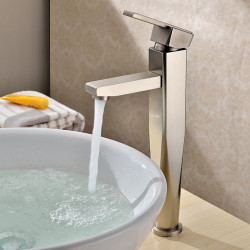 Contemporary Vessel Ceramic Valve One Hole Single Handle One Hole Nickel Brushed, Bathroom Sink Faucet